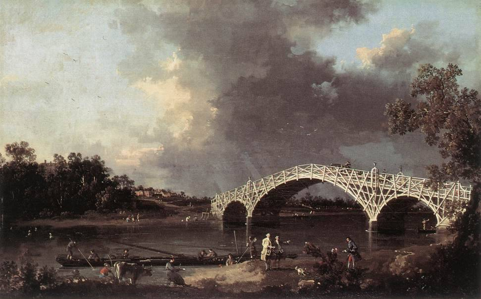 cavetocanvas:  Canaletto, Old Walton Bridge, 1754