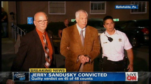 "thepoliticalfreakshow:  Jerry Sandusky was convicted Friday of sexually assaulting 10 boys over 15 years, accusations that had sent shock waves through the college campus known as Happy Valley and led to the firing of Penn State's beloved Hall of Fame coach, Joe Paterno. Sandusky, a 68-year-old retired defensive coach who was once Paterno's heir apparent, was found guilty of 45 of 48 counts. He faces life in prison at sentencing, which is weeks away. Sandusky showed little emotion as the verdict was read. The judge ordered him to be taken to the county jail to await sentencing in about three months. Eight young men testified in a central Pennsylvania courtroom about a range of abuse, from kissing and massages to groping, oral sex and anal rape. For two other alleged victims, prosecutors relied on testimony from a university janitor and then-graduate assistant Mike McQueary, whose account of a sexual encounter between Sandusky and a boy of about 10 ultimately led to the Paterno's dismissal and the university president's ouster. Sandusky did not take the stand in his own defense. He had repeatedly denied the allegations, and his defense suggested that his accusers had a financial motive to make up stories, years after the fact. His attorney also painted Sandusky as the victim of overzealous police investigators who coached the alleged victims into giving accusatory statements. But jurors believed the testimony that, in the words of lead prosecutor Joseph McGettigan III, Sandusky was a ""predatory pedophile."" One accuser testified that Sandusky molested him in the locker-room showers and in hotels while trying to ensure his silence with gifts and trips to bowl games. He also said Sandusky had sent him ""creepy love letters."" Another spoke of forced oral sex and instances of rape in the basement of Sandusky's home, including abuse that left him bleeding. He said he once tried to scream for help, knowing that Sandusky's wife was upstairs, but figured the basement must be soundproof. Another, a foster child, said Sandusky warned that he would never see his family again if he ever told anyone what happened. And just hours after the case went to jurors, lawyers for one of Sandusky's six adopted children, Matt, said he had told authorities that his father abused him. Matt Sandusky had been prepared to testify on behalf of prosecutors, the statement said. The lawyers said they arranged for Matt Sandusky to meet with law enforcement officials but did not explain why he didn't testify. ""This has been an extremely painful experience for Matt and he has asked us to convey his request that the media respect his privacy,"" the statement said. It didn't go into details about his allegations. Defense witnesses, including Jerry Sandusky's wife, Dottie, described his philanthropic work with children over the years, and many spoke in positive terms about his reputation in the community. Prosecutors had portrayed those efforts as an effective means by which Sandusky could camouflage his molestation as he targeted boys who were the same age as participants in The Second Mile, a charity he founded in the 1970s for at-risk youth. Sandusky's arrest in November led the Penn State trustees to fire Paterno as head coach, saying he exhibited a lack of leadership after fielding a report from McQueary. The scandal also led to the ouster of university president Graham Spanier, and criminal charges against two university administrators for failing to properly report suspected child abuse and perjury. The two administrators, athletic director Tim Curley and now-retired vice president Gary Schultz, are fighting the allegations and await trial. Sandusky had initially faced 52 counts of sex abuse. The judge dropped four counts during the trial, saying two were unproven, one was brought under a statute that didn't apply and another was duplicative."