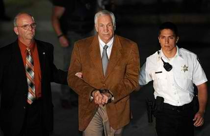 jamarisjustice:  Jerry Sandusky leaves the Centre County Courthouse Friday, June 22, 2012, after being found guilty in his sexual abuse trial, in Bellefonte, Pa. Sandusky was convicted of sexually assaulting 10 boys over 15 years Friday, accusations that had sent shock waves through the college campus known as Happy Valley and led to the firing of Penn State's beloved Hall of Fame coach, Joe Paterno.