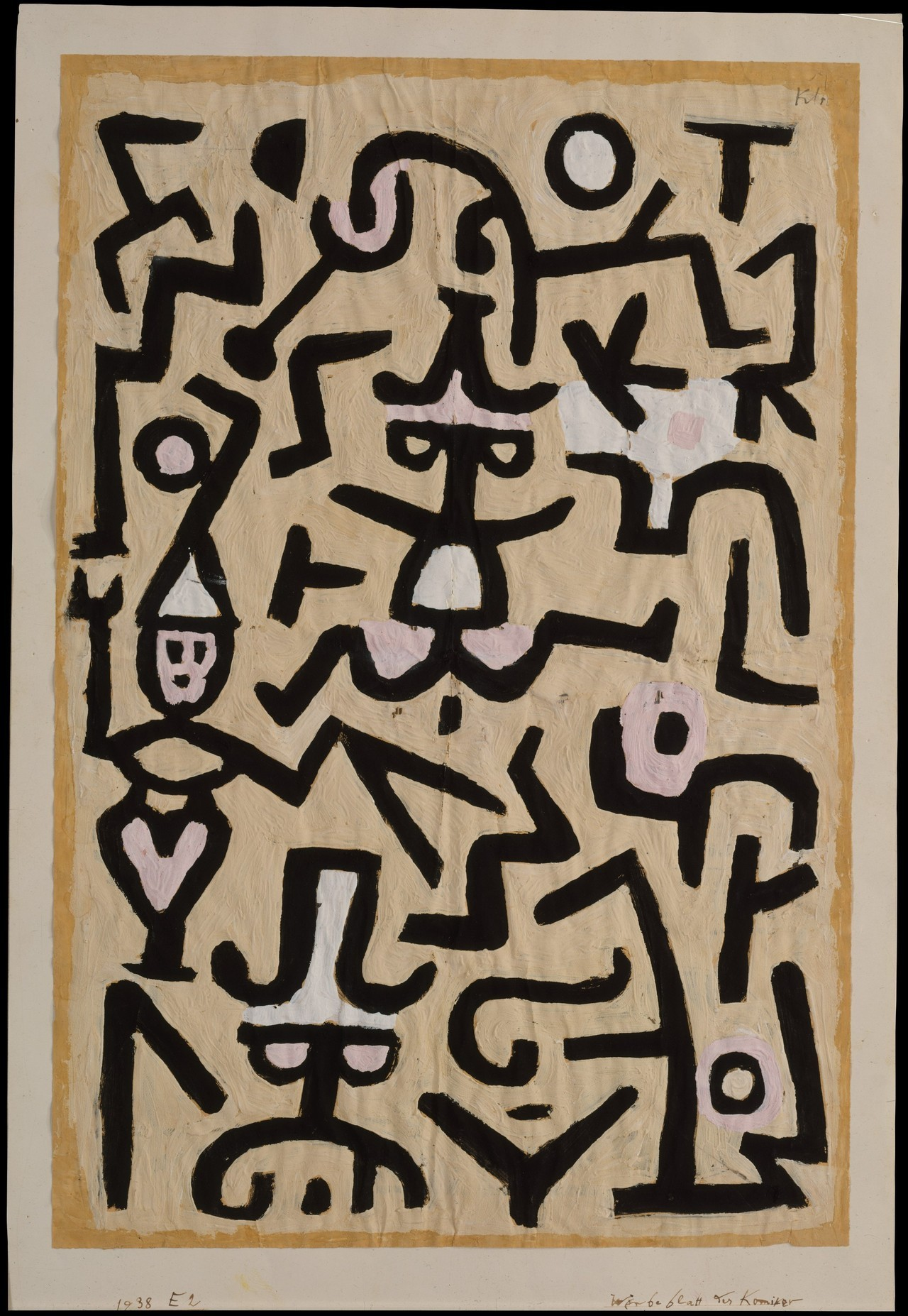 artpedia:  Paul Klee - Comedians' Handbill, 1939. Gouache on newsprint