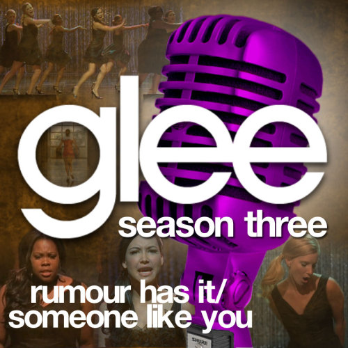 "A Glee album cover (with Season 3 microphone) for ""Rumour Has It/Someone Like You"", as sung by Amber Riley and Naya Rivera with Heather Morris and the Troubletones, from Episode 3x06 ""Mash-Off"" in my Velvet Backdrop style.  This is a remake of the original cover."