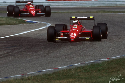 Gerhard Berger leads Michele Alboreto to a Ferrari 1-2 at Monza in 1988. The tifosi would have to wait until 1996 for another Scuderia victory at the legendary Italian circuit, and until 1998 for another 1-2, both victories being scored by Michael Schumacher who would go on to win at Monza another 3 times for Ferrari.