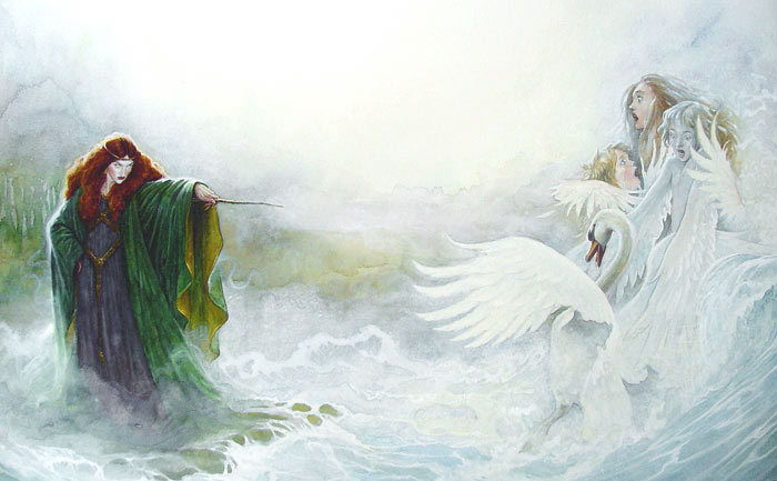 mitologiayleyendas:  The Children of Lir by P. J. Lynch