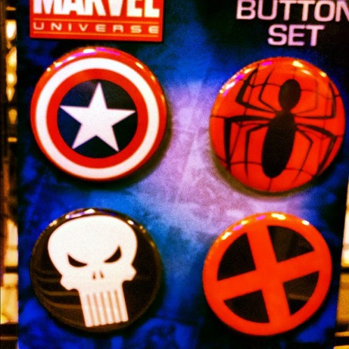 #GeekGear #Buttons #CaptainAmerica #SpiderMan #Punisher #XMen #Nerd #Geek #Fashion  (Taken with Instagram)
