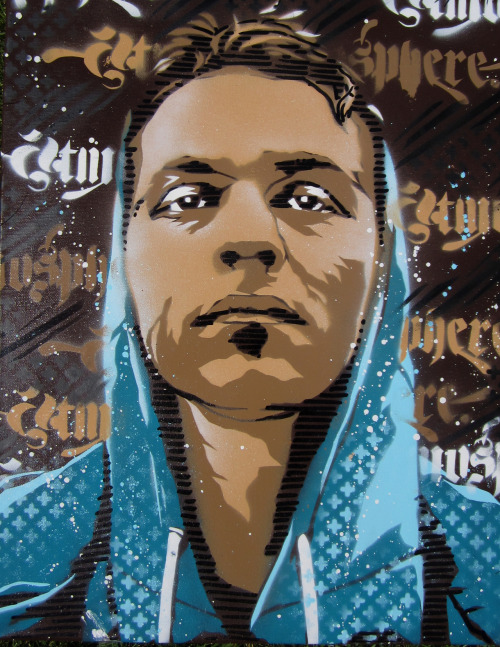 taylorlindgrenart:  Slug from Atmosphere, Stencil/ Spray Paint on canvas I created.