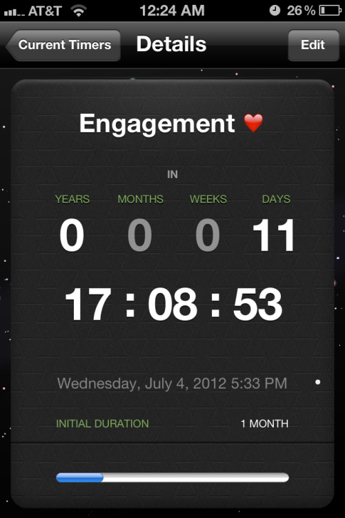 Now, it's probably a little untraditional to know the day of your engagement, but honestly, it makes us look at our relationship on a different way. We have to make sure we're ready for the commitment since we both have ha previous engagements that didn't work out. Fuck tradition, let's get married.
