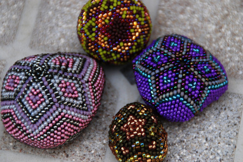 I love beaded rocks: Encrusted rocks by autumnsky5 on Flickr.