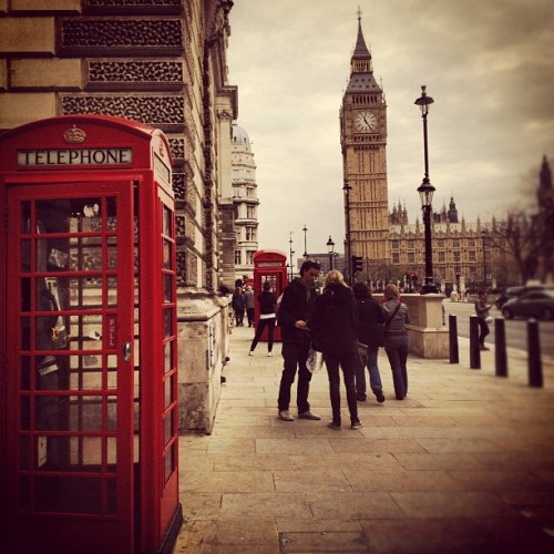 Walking towards Big Ben #london #uk #england #bigben #parliament #redphonebooth #travel (Taken with Instagram)