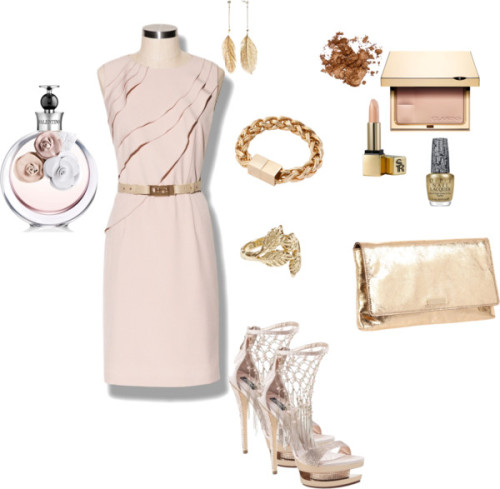 Wedding outfit by crazyguera12 featuring a gold nail polishVince Camuto khaki dress, $138Kate spade clutch, $225Chain bracelet, £150Reiss leaf ring, $53Gold tone earrings, $10Lip makeup, $32Clarins face powder, $30Stila glitter eyeshadow, $20Valentino perfume, £71OPI gold nail polish, £16SUCCESS, $450