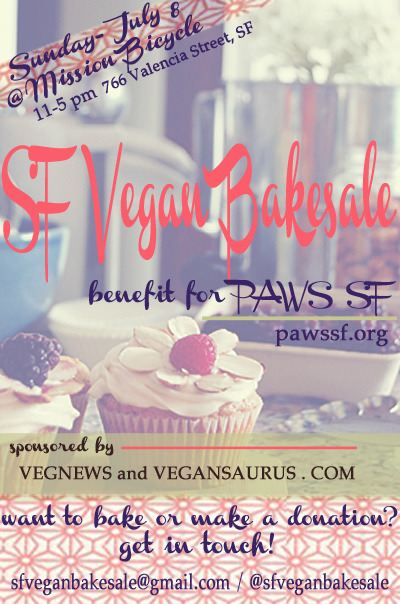 "An extra-delicious SF Vegan Bakesale is coming on Sun, July 8 from 11am-5pm in front of Mission Bicycle! And you gotta volunteer to bake, right? Right. Get at the organizers and then start to dream up all the tasty shiz you can create from things like flour and sugar. Isn't it amazing? I mean, who the fuck baked the first cake? Was it like, Jesus or Moses or what? That was probably it… Moses all drunk in the hot sun, snacking on a bag of flour being all, ""let's see what else we can do with this flour shit."" THE MORE YOU KNOW."