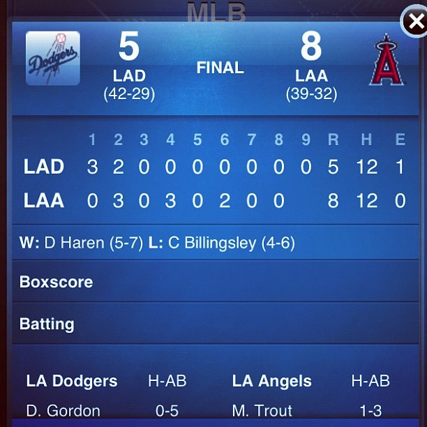 Just another Halo victory! #angels #freewayseries #mlb #baseball #halos #LTBU #dodgers (Taken with Instagram)
