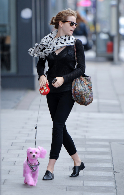 suicideblonde:  Emma Watson in East London, June 22nd EMMA WITH A PINK DOG!?    That's it, shut down the internet, we're all done here.