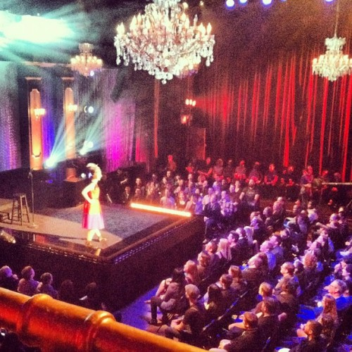 Kristen schaal being a magicians assistant.  (Taken with Instagram)