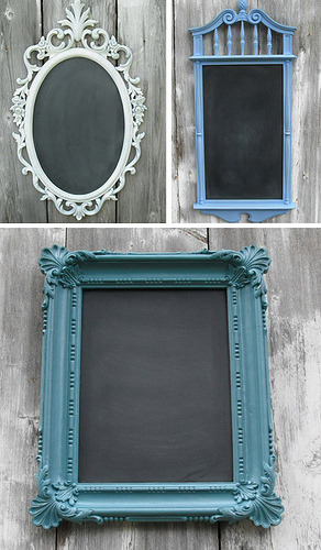 ohyaydesign:  DIY: Fancy Chalkboards. Buy inexpensive frames, paint the frame, and paint the glass with chalkboard paint.  OMG so doing this