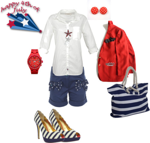 Happy 4th of July by crazyguera12 featuring white handbagsSeasalt Sesalt Sunset Shirt, White, £45Ted Baker high heel shoes, $185Wesc white handbag, £48Adidas chronograph watch, $115Stud earrings, $12Christmas jewelry, $7.99Paul Smith Junior - Girls Bow Detail Shorts, $67