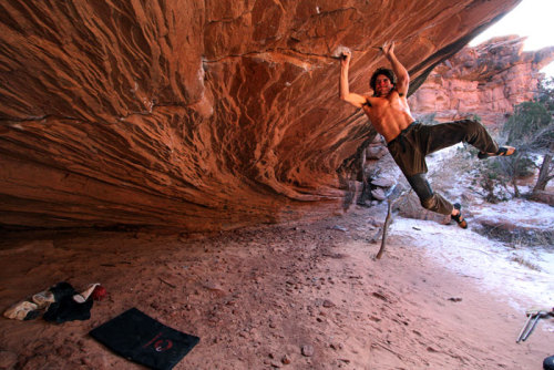 "climb4thevictory:   Dean Potter on Zen Garden, near Moab, Utah   I love this photo. ""If I push hard enough, maybe I can widen this @#%&! crack!"" Photo by Dean Fidelman, by the way."