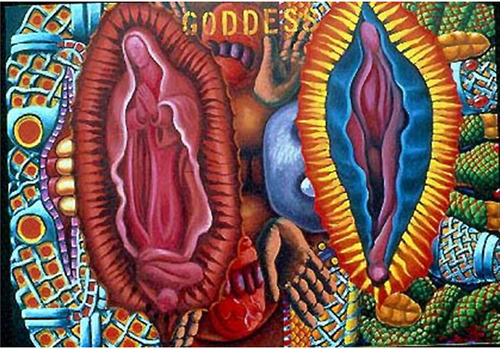 Quiroz, Alfred J. Goddess. 1991.  This image shows my fascination with imagery of the Virgen de Guadalupe. It is a part of the religious iconography of a majority of Chicanos and Mexicans. But if one delves historically, without the religious meaning, one finds that this miraculous image is in the distinct painting style of European painting of that period. The outlined image and the sharp pointy rays are found in many artworks of that period. There is a stained-glass image made in the late 1400s displayed at the Metropolitan Museum of Art with the same exact outline and rays as depicted in the Virgen.