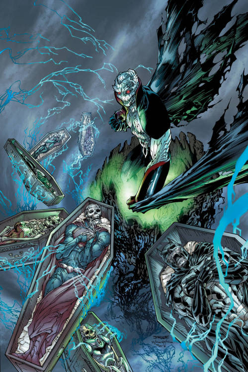 somewhatbadasslol:  New cover for Justice League by Jim Lee, contains the new damn interesting Villain Graves