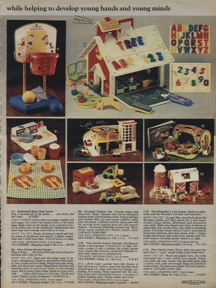 Advertisement from the 1979 Sears Wish Book catalog. NOTE:  The most expensive toy on this page is $15.97. Thank you to http://jtem.tumblr.com/ for this submission.