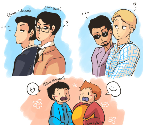 crazyk-c:  myeviltwintheviolinist requested Domestic Marvel (Steve,Tony, Peter) running into Domestic DC (Bruce, Clark, Dick), and have an awkward outcome :DTo be honest though, I think Dick and Peter would get along fairly well xD