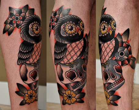 owl leg tattoo I've done..thanks