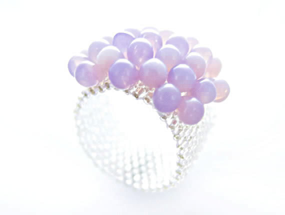 Purple Cluster Ring Lavender Beaded Ring Silver by JeannieRichard