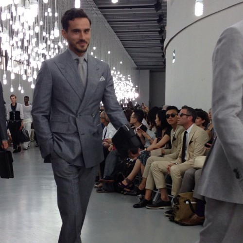 gqfashion:  Arthur K. Looking sharp and suited-up at corneliani the first show kicking-off Milan men's spring 2013 fashion week. Ts  (Taken with Instagram)