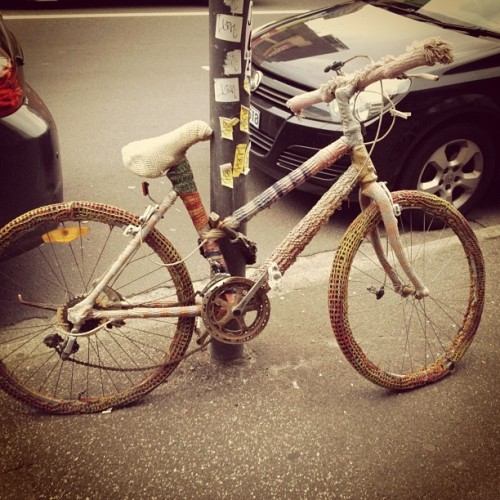 Massive yarn bomb bicycle (Taken with Instagram)