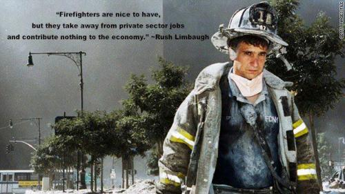 Rush Limbaugh now thinks firemen are an extravagance? unlike, say a pocketful of happy pills? …and you all continue to nod along to this douchebag? … unbelievable.  #tfly