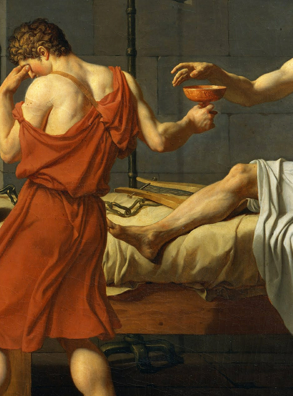Detail of The Death of Socrates by Jacques-Louis David, 1787.