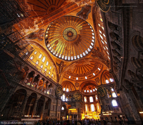 theworkman:  Hagia Sofia Vertorama, Istanbul by Christopher Chan on Flickr.    The magnificent architecture of the Hagia Sophia is a perfect example of Byzantine and Ottoman cultures intertwined under one dome. It was once a church, then a mosque; now currently a  museum and is famous in particular, for its large and breathtaking dome. The Hagia Sophia is deffinately a must see for any traveller to Istanbul.  © Art.Islam.Life