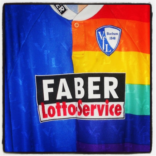 Shirt of the day: VFL Bochum, Faber, 1998 courtesy of @brad147690   Taste the rainbow  Source: http://bradsfootballshirtcollection.blogspot.co.uk/