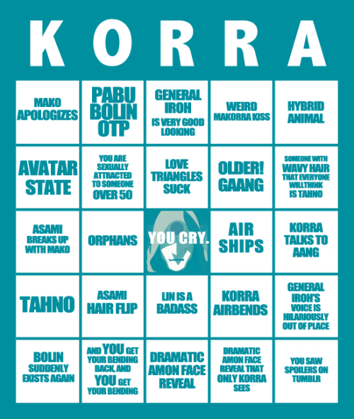 conversationparade:  1 2 3 bingo cards for the korra finale for all the bingo fanatics out there - COMPETE AGAINST UP TO TWO FRIENDS???  Is Lin Beifong older than 50, will I make up my mind as to whether Tenzin is a DILF: existential Korra dilemmas, vol. 432480