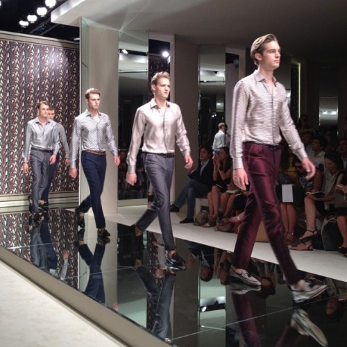 Disco shine and plenty of prints  at Ermenegildo Zegna (Taken with Instagram)