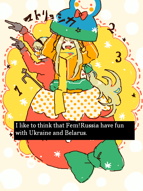 """I like to think that Fem!Russia have fun with Ukraine and Belarus."" Artwork by Mamu"