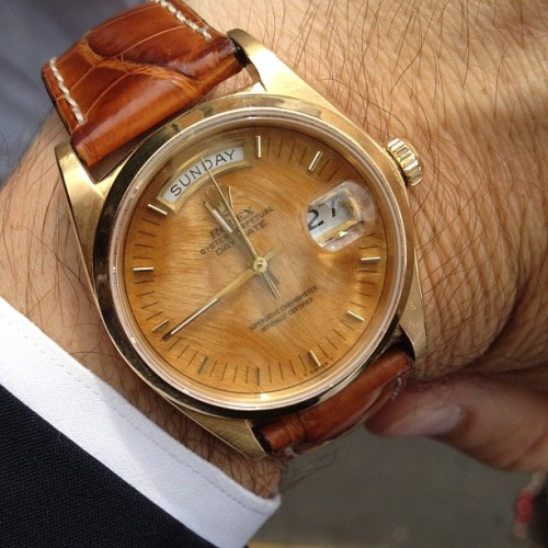 gqfashion:  Got wood? Brendan Monaghan's gorgeous's vintage Rolex with wood dial. Nice. Ts (Taken with Instagram)