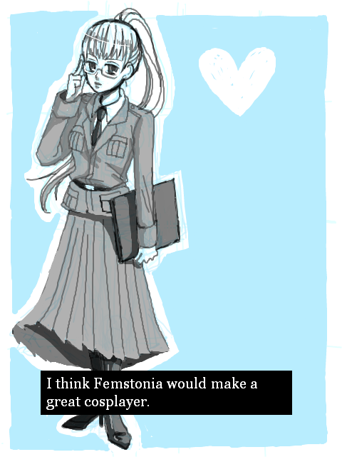 """I think Femstonia would make a great cosplayer."" Submitted by Anon. / Artwork by ユヒナ"
