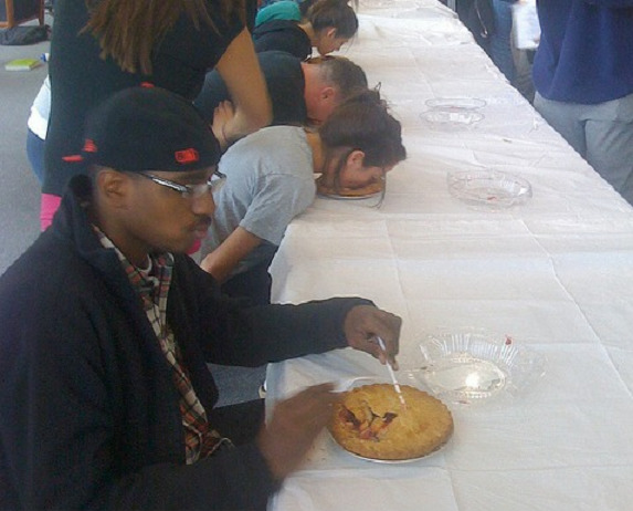 okatu:  pie eating contest? nah son free pie