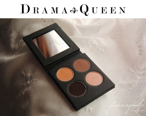 glamourzombie:    Drama Queen has me made fall in love with brown eyeshadows again. You just need to look at the swatches of this palette, and no more words are really needed. However, I like talking. So here are my thoughts! At the beginning I did not want to open this palette, because it came carefully wrapped in lovely pink paper. Obviously, this feeling did not last long! And I opened it to find my awesome Trophy Queen palette. The texture is silky, the quality is extemely high, they are smudge-proof (without primer!!) and the colors are very well-matched. It has four shades: Love Lox (top left), Co-Co (top right), Pink Champagne (bottom right) and Tatty Teddy (bottom left). For the swatch, I used a very diffused primer on the top part. I personally think that these shades do not need a primer at all, maybe only if you want to intensify their textures (I noticed that the primer made the mattes more matte, and the shimmers more shimmery). As for the color, they are enough pigmented on their own. My favorite one is Pink Champagne because it is a very unusual color, yet extremely pretty ♥ Now, they are holding a giveaway which will be open until July 31st. All you have to do is leave a comment on their Facebook wall telling them which of our palettes is your favorite. Easy peasy. But don't forget to like their page, otherwise your comment will not count! Also, I have a very speacial offer for you, my lovely readers! You will get a 10% discount at checkout if you use the code glamourzombie. Enjoy it!