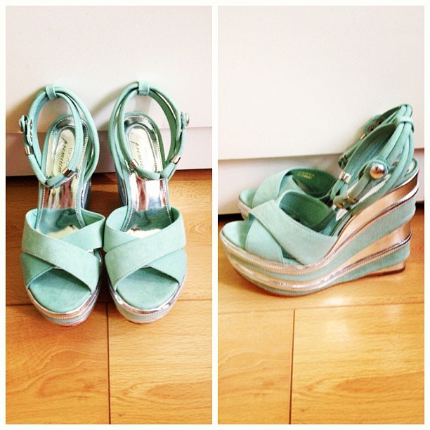New #shoes #metallic #silver #mint #wedges #platform #purchases (Taken with Instagram)