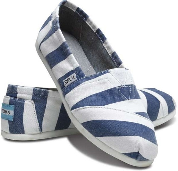 THE FIND: Blue Striped Tom's These Blue Beckett Women's Vegan Classic flats ($54) by Toms Shoes complete a chic, casual outfit. Last night I had a dinner and movie date with my husband in Brooklyn, and taking into account all the puddles after hot summer day showers, I couldn't figure out which shoes to wear to look cute in my cropped jeans and a tee. These would have been perfect! Stripes always look stylish and sophisticated, even if your outfit is otherwise cool and casual. Blue Striped Toms are a weekend wear must-have and of course, how chic is the fact that every time you purchase a pair, a child-in-need gets a pair too?  - Annabella, New York