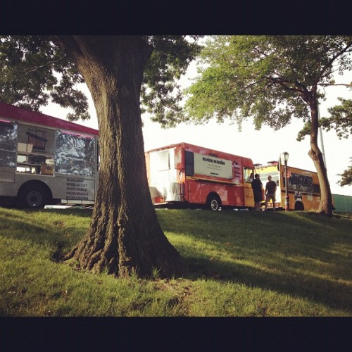 3 hours until show time but we're here w/ @Waffletruck and @ Mexicue! (Taken with Instagram)