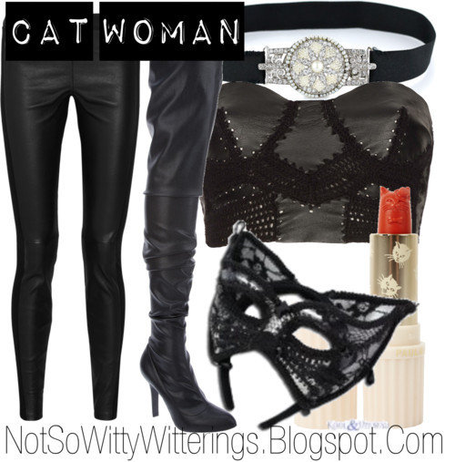 Cat Woman by notsowitty featuring corset tops