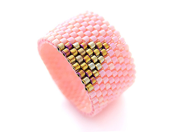 Coral Pink Ring Gold Triangle Ring Beading Pink by JeannieRichard