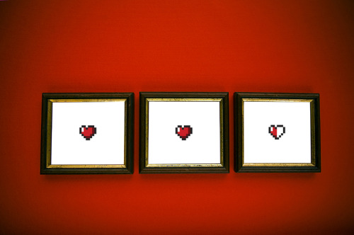 "gamefreaksnz:  Hearts. Jon E. Allen.2-color (3-panel) Screenprint. 2012.Cougar Bright White 100#. 10""x10"". Edition of 100.  Purchase 