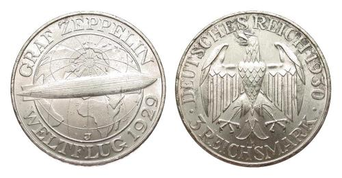 German coins struck to commemorate LZ127 round-the-world flight.  http://lord-k.livejournal.com/646318.html