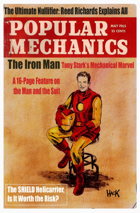 fumettimarvel:  xombiedirge:  Popular Mechanics 1965: IRON MAN by Robert Hack / Website   .