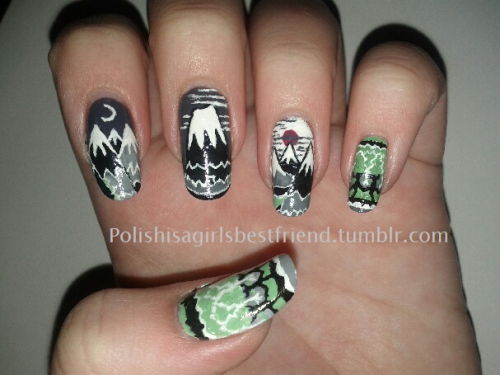polishisagirlsbestfriend:  Based on the cover of The Hobbit! Base Color: Ulta - Smoke Screen  Hobbit nails, you guys. HOBBIT NAILS.