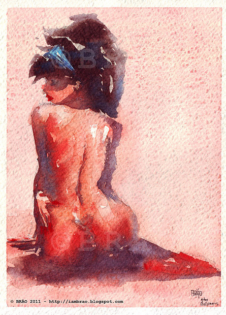 iambrao:  After McGinnis01 on Flickr. Reproduction in watercolor of a painting by Robert McGinnis
