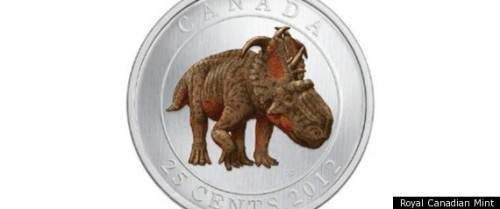 Canadian Royal Mint made a glow-in-the-dark dinosaur quarter.